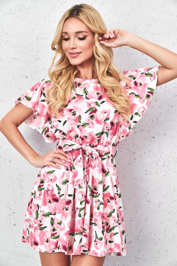 Sukienka w kwiaty z paskiem FIORI