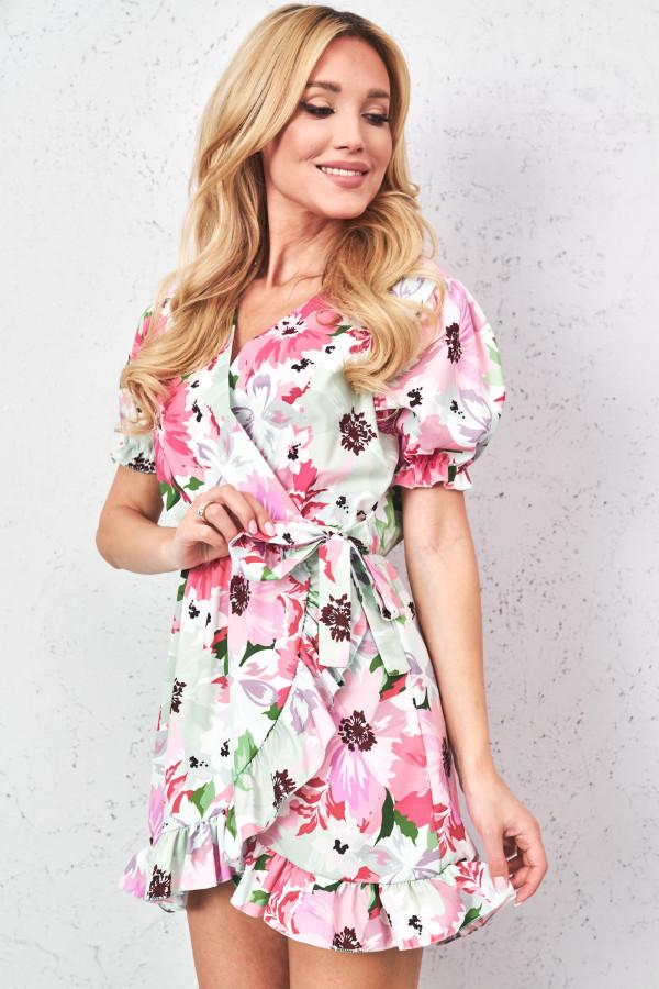 Sukienka w kwiaty z wiązaniem SISI 3