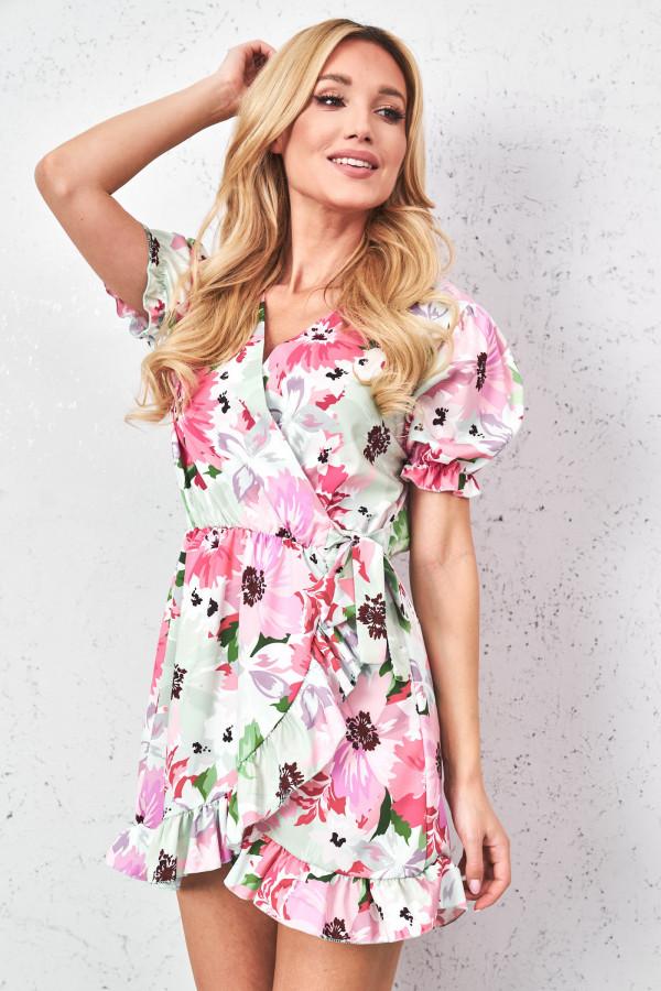Sukienka w kwiaty z wiązaniem SISI 4