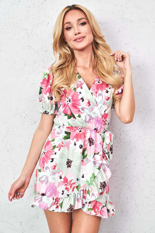 Sukienka w kwiaty z wiązaniem SISI