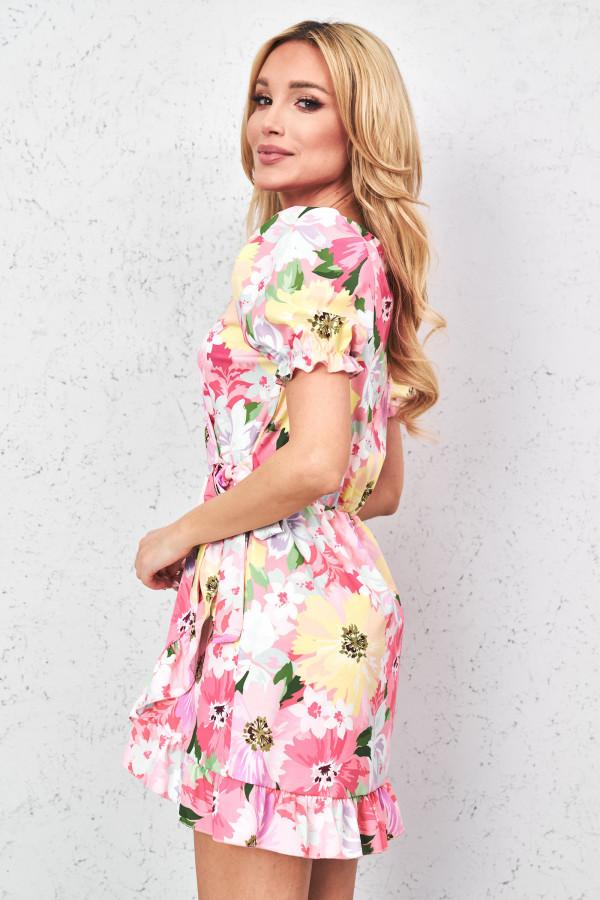 Sukienka w kwiaty z wiązaniem SISI 2