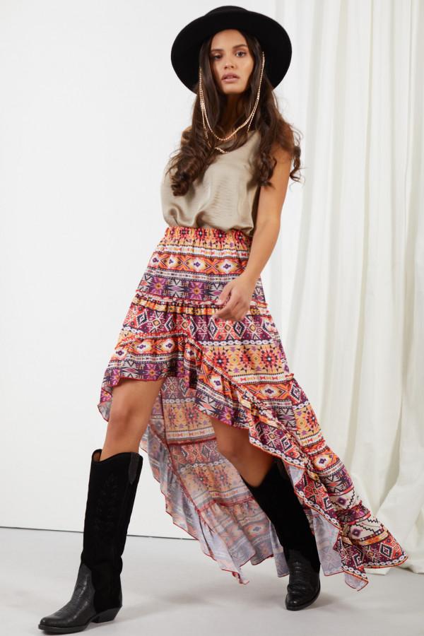 Asymetryczna spódnica z falbaną DARCY