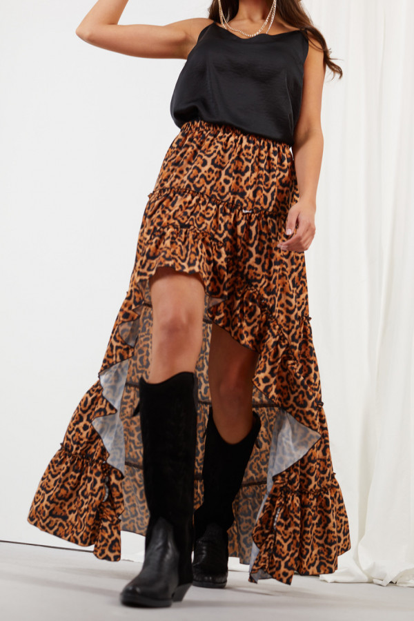 Asymetryczna spódnica z falbaną DARCY 4