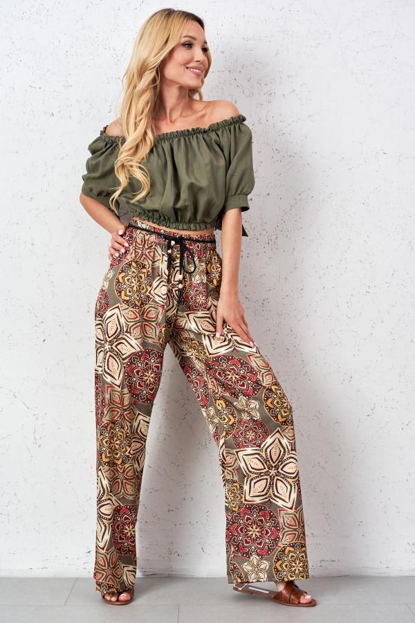 Satynowe spodnie we wzory PALAZZO 1
