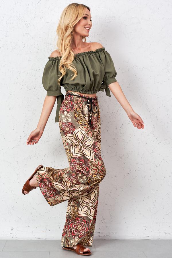 Satynowe spodnie we wzory PALAZZO 2