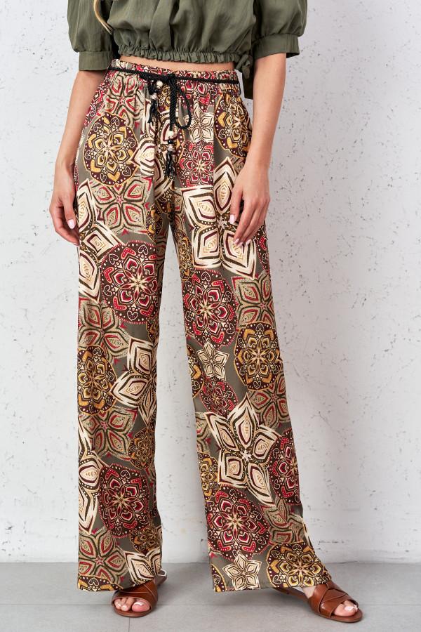 Satynowe spodnie we wzory PALAZZO 4