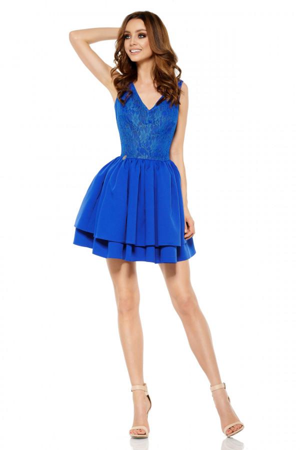 Wieczorowa sukienka mini z koronką 1