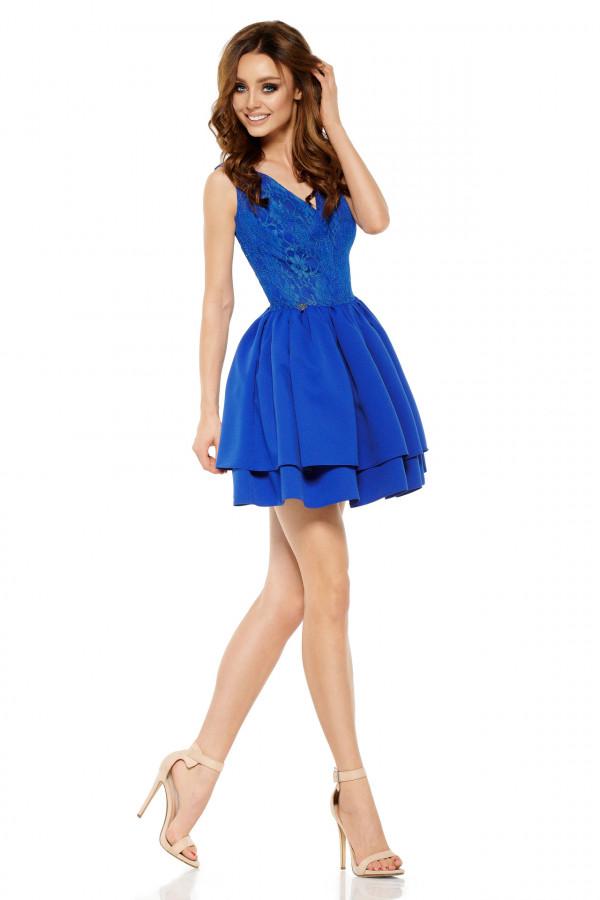 Wieczorowa sukienka mini z koronką 2