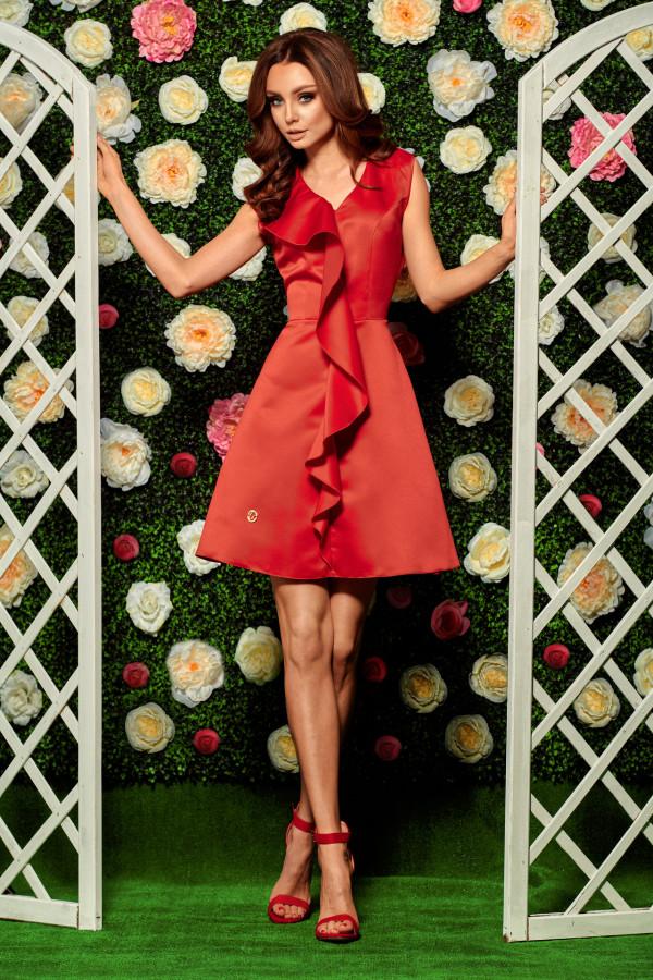 Sukienka koktajlowa z falbaną VALENTINA