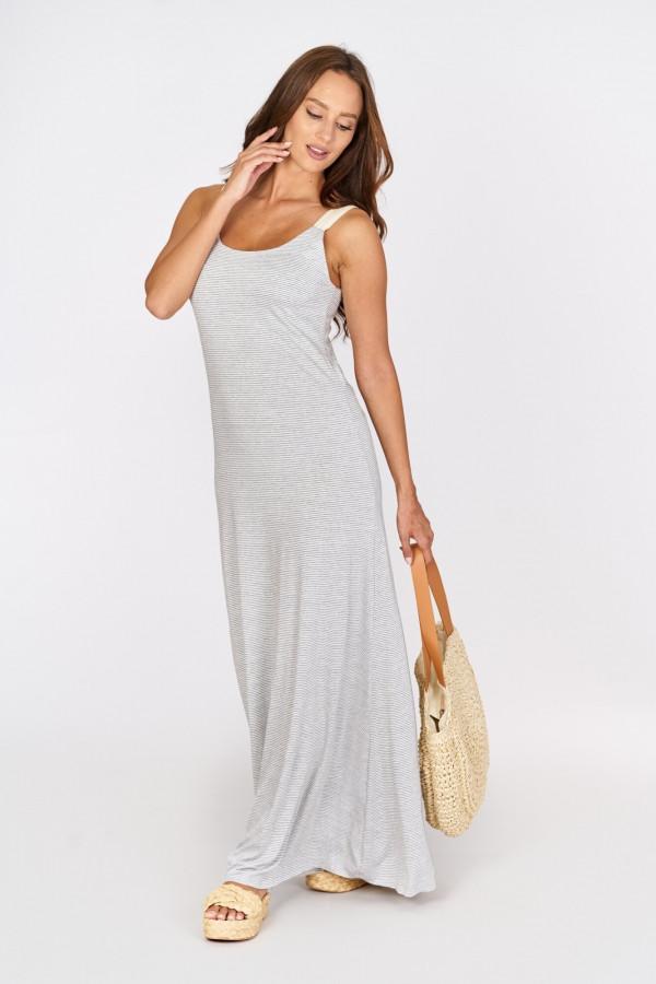 Długa sukienka z wiązaniem na plecach 2
