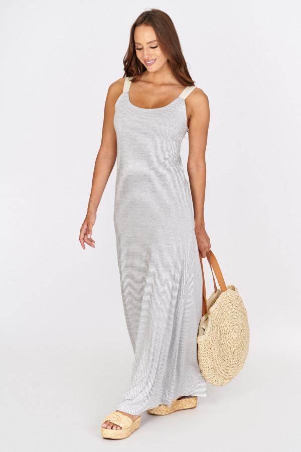 Długa sukienka z wiązaniem na plecach