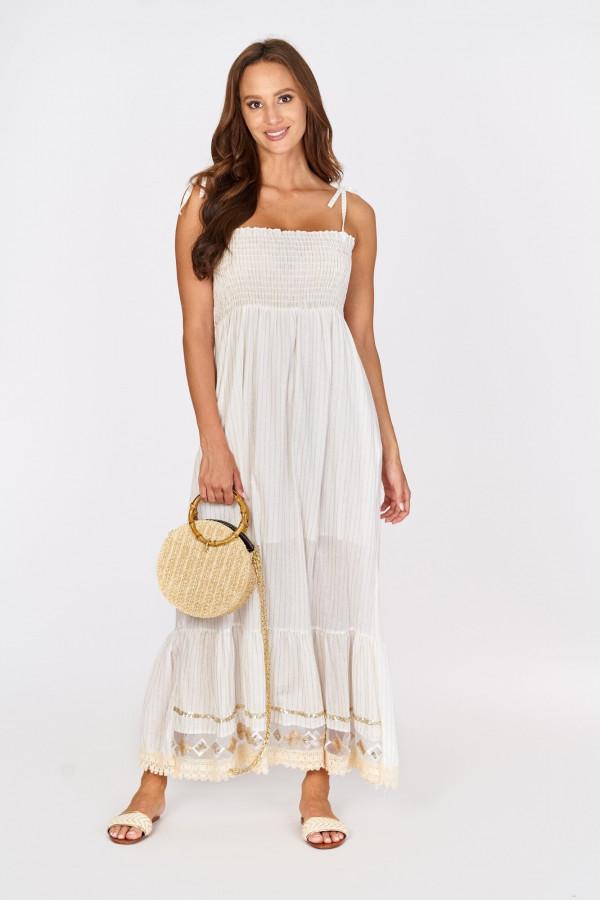 Długa sukienka z wiązanymi ramiączkami