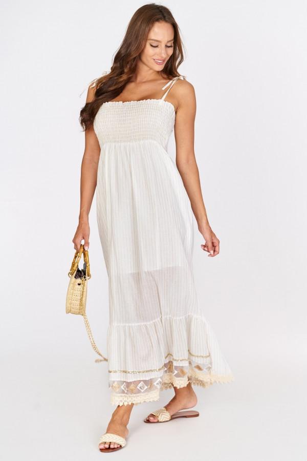 Długa sukienka z wiązanymi ramiączkami 1
