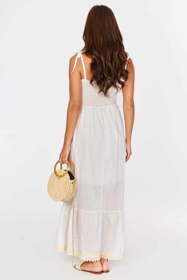 Długa sukienka z wiązanymi ramiączkami 2
