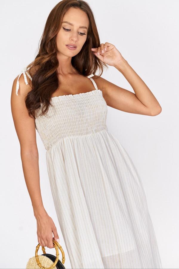 Długa sukienka z wiązanymi ramiączkami 3