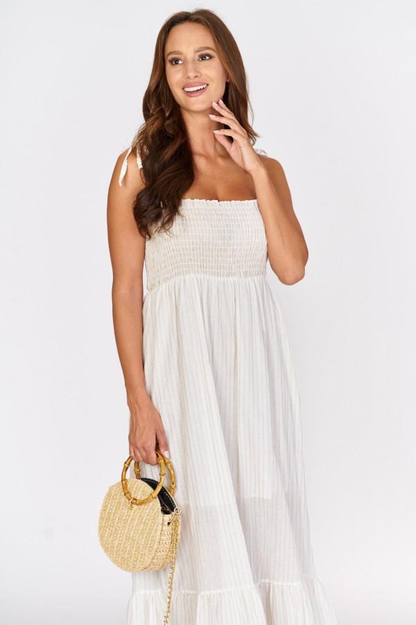Długa sukienka z wiązanymi ramiączkami 4