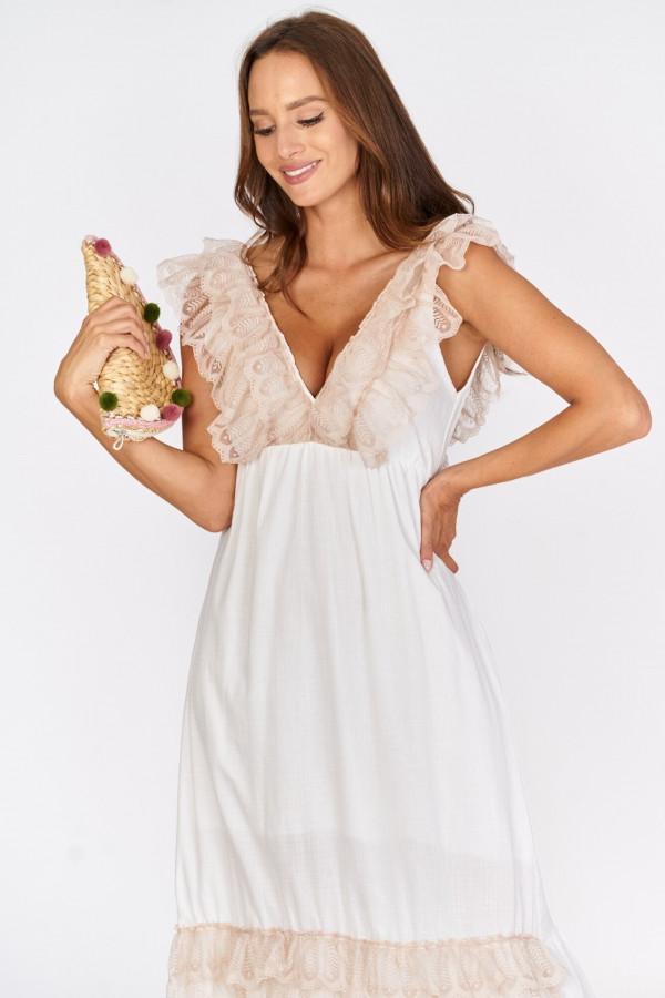 Długa sukienka BOHO z falbankami przy dekolcie 2