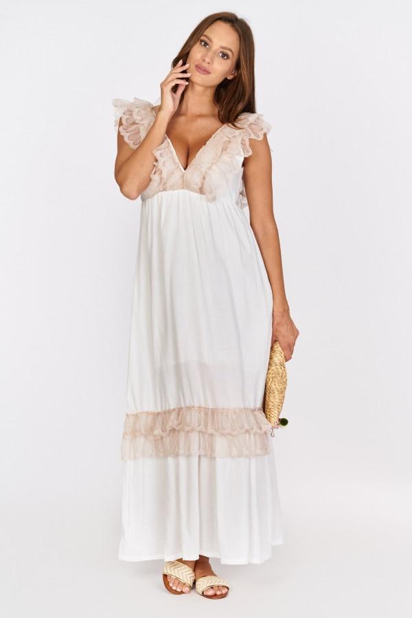 Długa sukienka BOHO z falbankami przy dekolcie