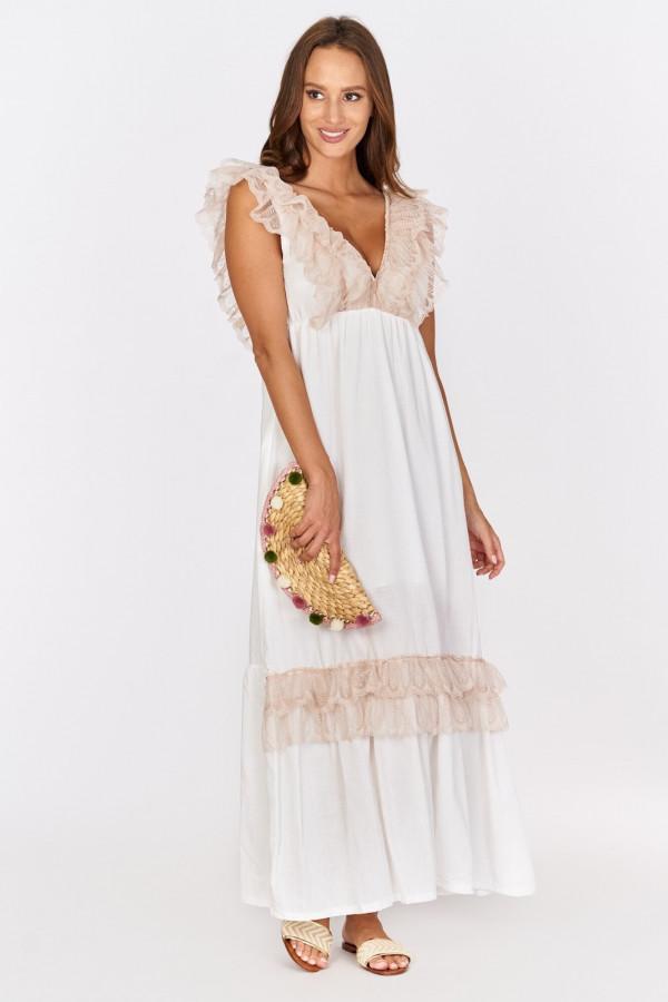 Długa sukienka BOHO z falbankami przy dekolcie 1