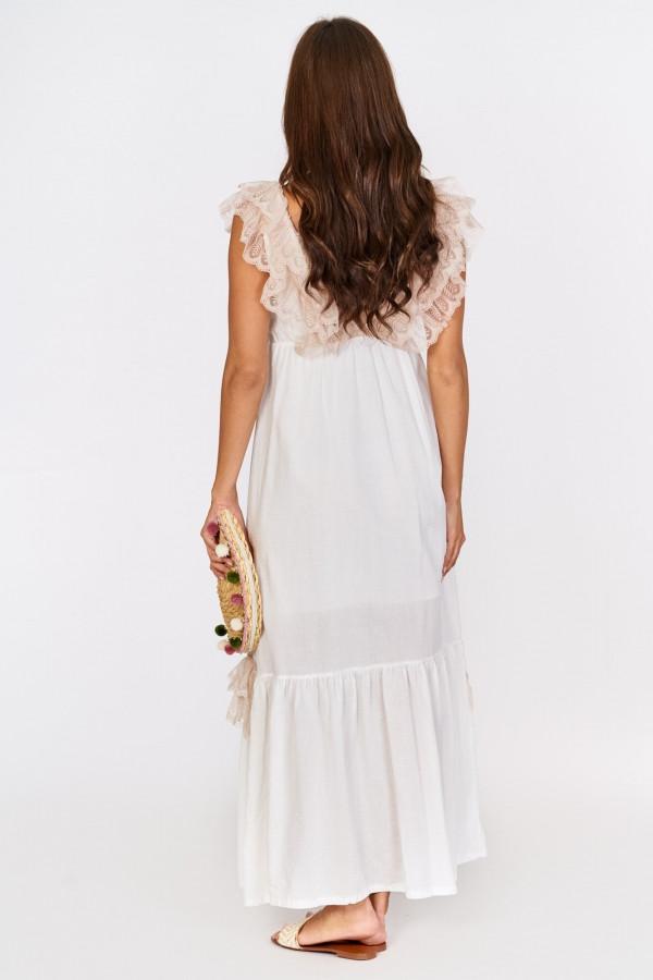Długa sukienka BOHO z falbankami przy dekolcie 4
