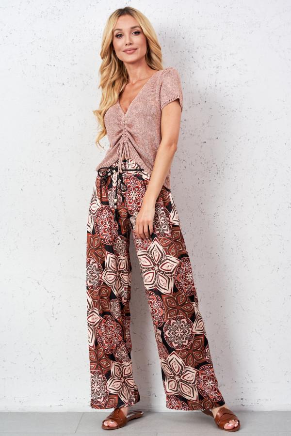 Satynowe spodnie we wzory PALAZZO