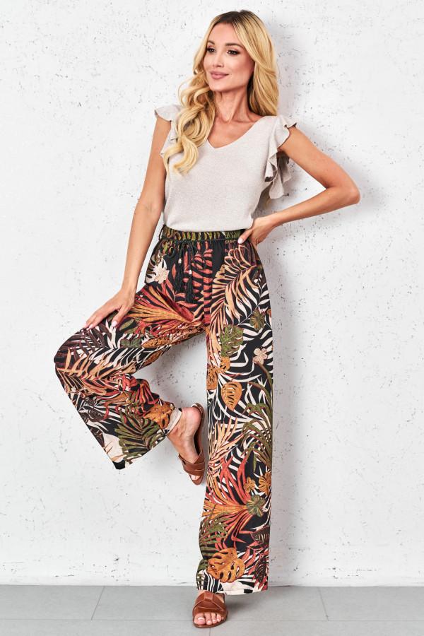 Spodnie w tropikalne wzory PALAZZO