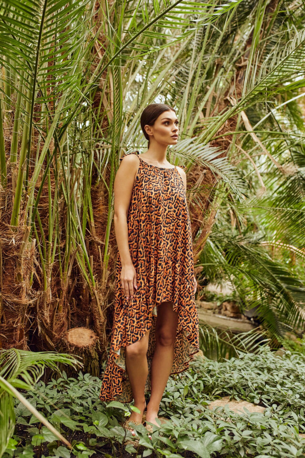 Sukienka asymetryczna w panterkę CHLOE