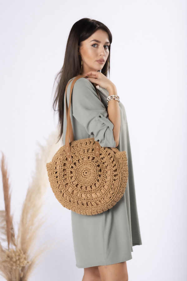 Okrągła pleciona torebka SAHARA