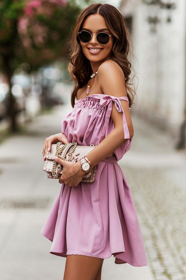 Sukienka z wiązaniem na ramionach ANDI