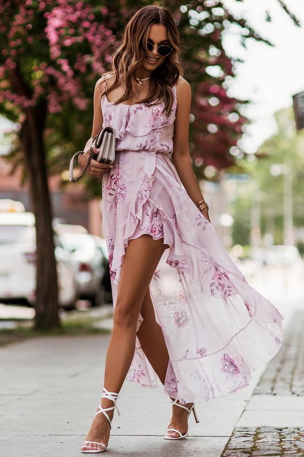 Sukienka szyfonowa w kwiaty AMIS