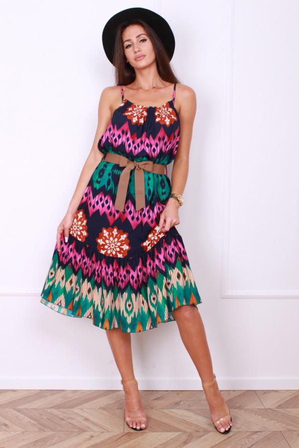 Sukienka we wzory z paskiem CANDY