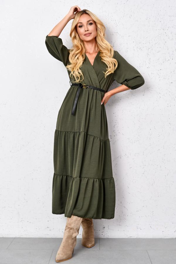 Długa sukienka z paskiem KATHY