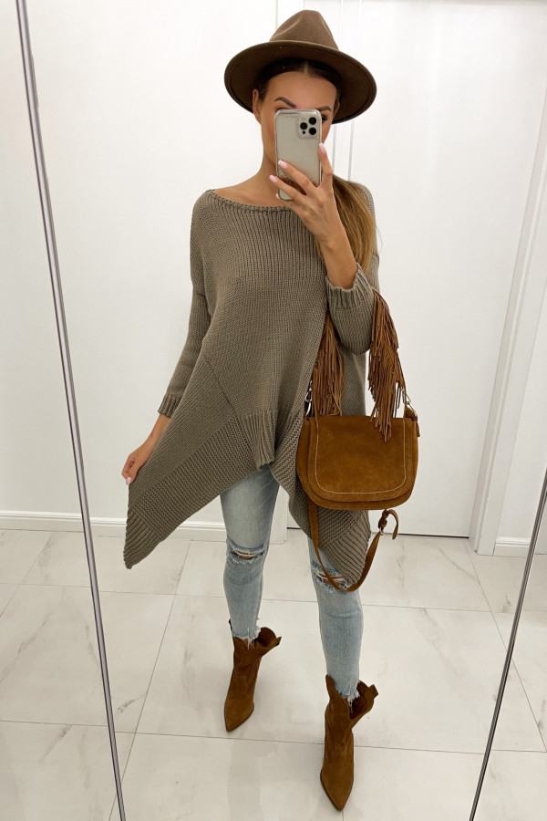 Sweter asymetryczny z wełną STELLA mokka