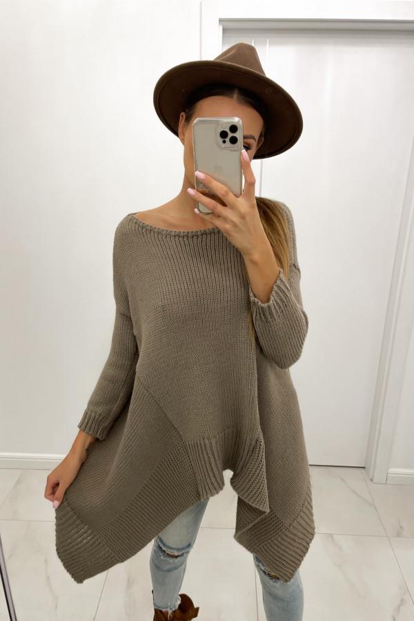 Sweter asymetryczny z wełną STELLA mokka 1