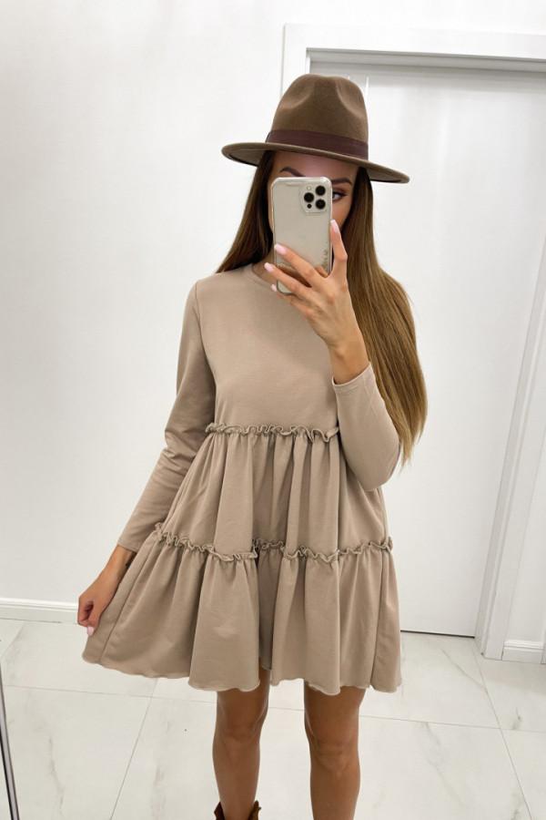 Sukienka bawełniana z długim rękawem JANETT beż