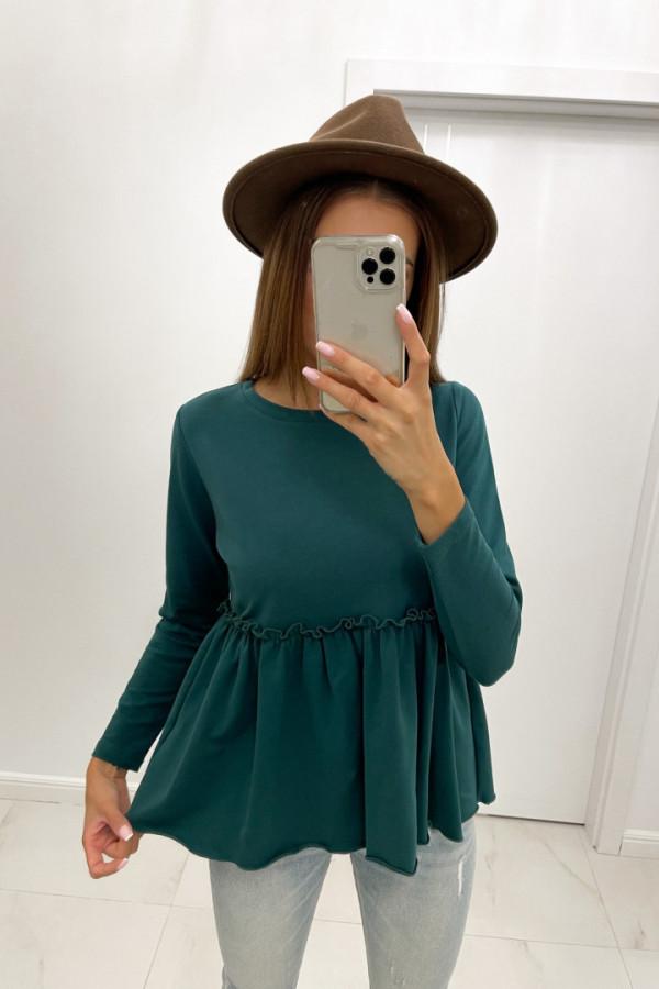 Bluzka bawełniana długi rękaw ANETHA butelkowa zieleń