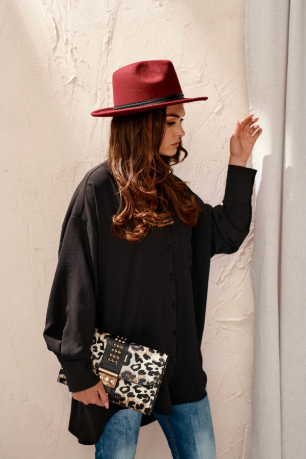 Koszula damska oversize z długim rękawem LIZZY czerń