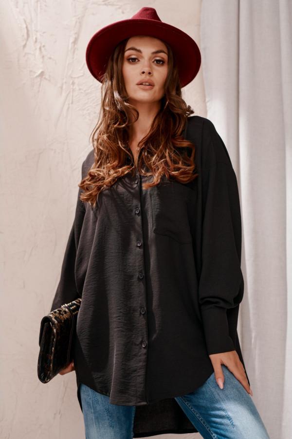 Koszula damska oversize z długim rękawem LIZZY czerń 1