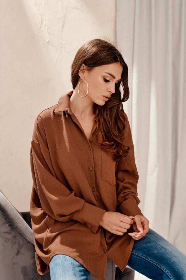 Koszula damska oversize z długim rękawem LIZZY brąz