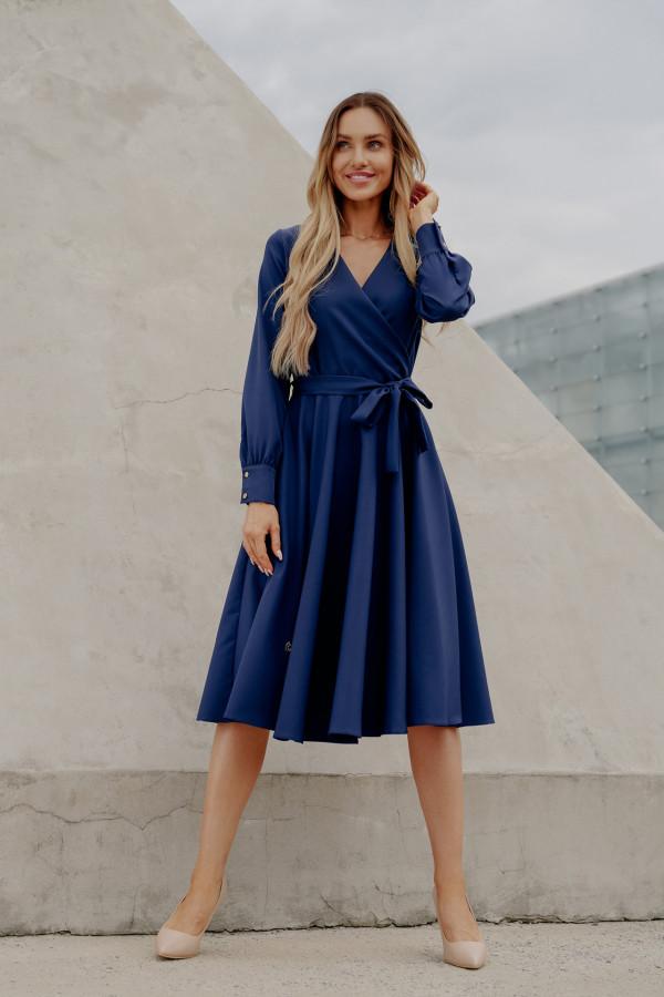 Sukienka gładka z wiązaniem DABBY niebieski