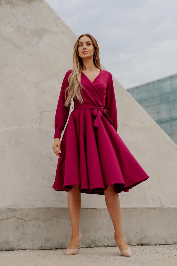 Sukienka gładka z wiązaniem DABBY bordo