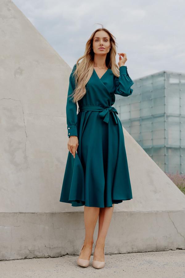 Sukienka gładka z wiązaniem DABBY zieleń