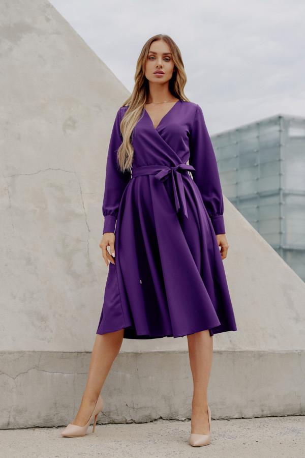 Sukienka gładka z wiązaniem DABBY fiolet