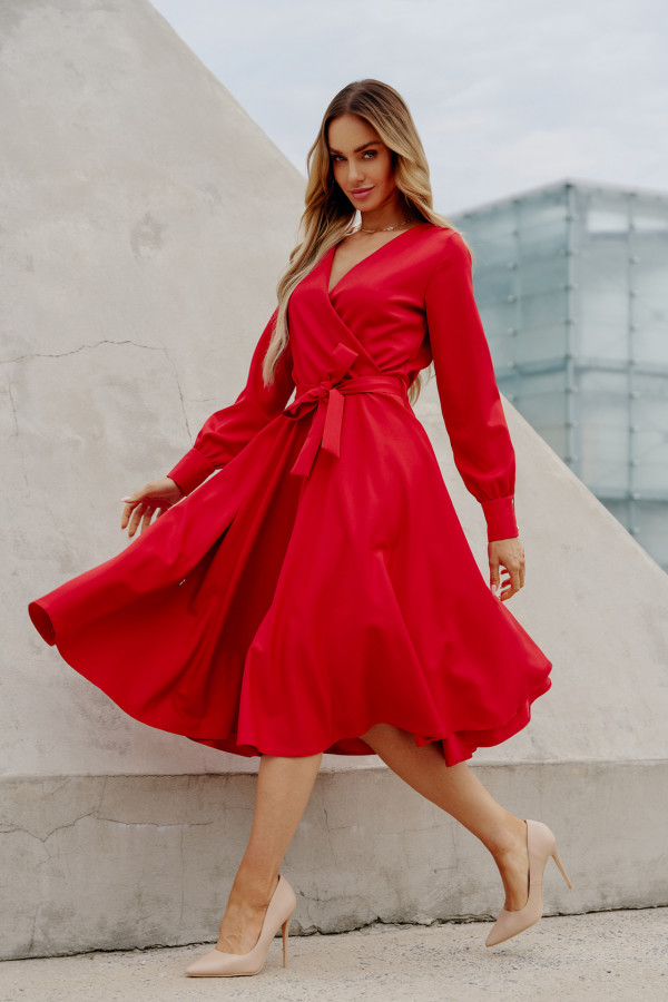 Sukienka gładka z wiązaniem DABBY czerwień