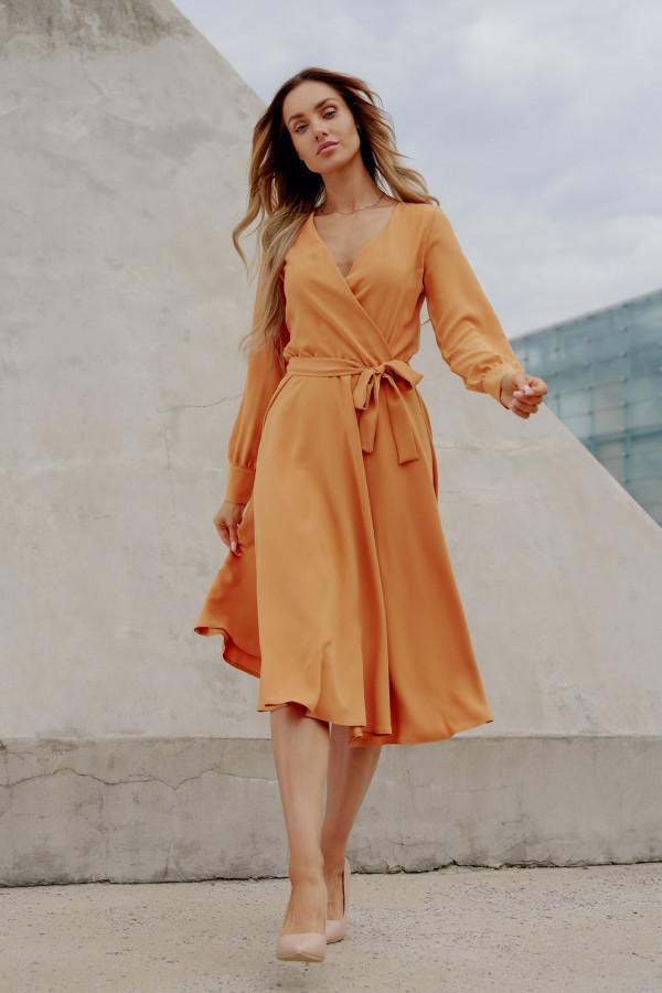 Sukienka gładka z wiązaniem DABBY kamel