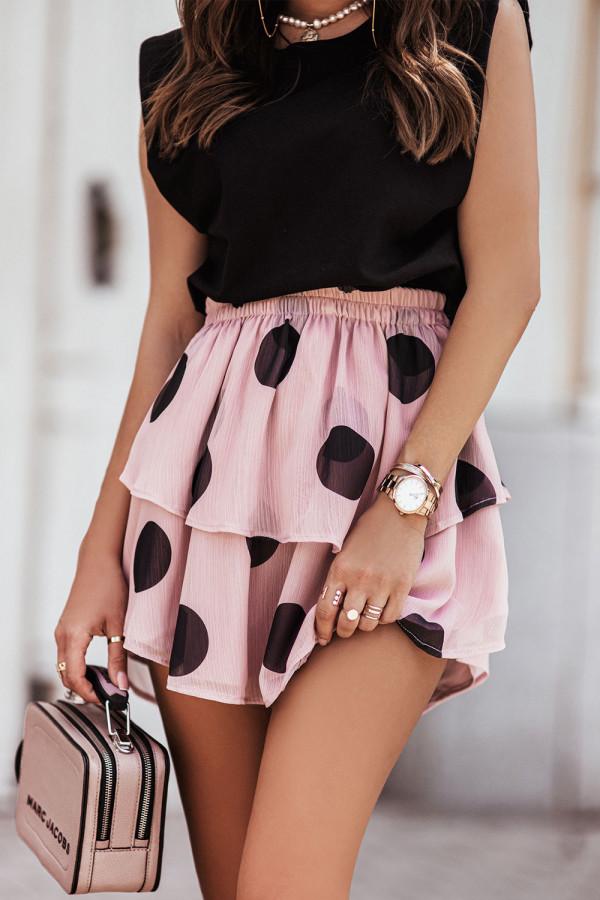 Komplet damski bluzka i spódnica mini w grochy SANNA 2