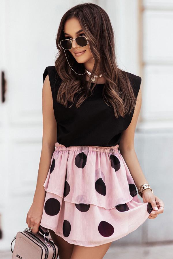 Komplet damski bluzka i spódnica mini w grochy SANNA 1