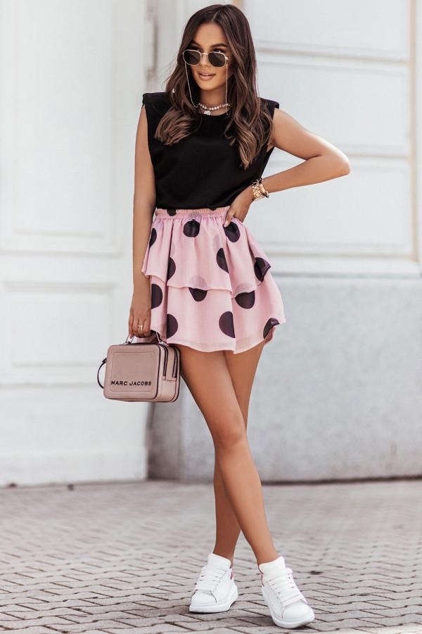 Komplet damski bluzka i spódnica mini w grochy SANNA