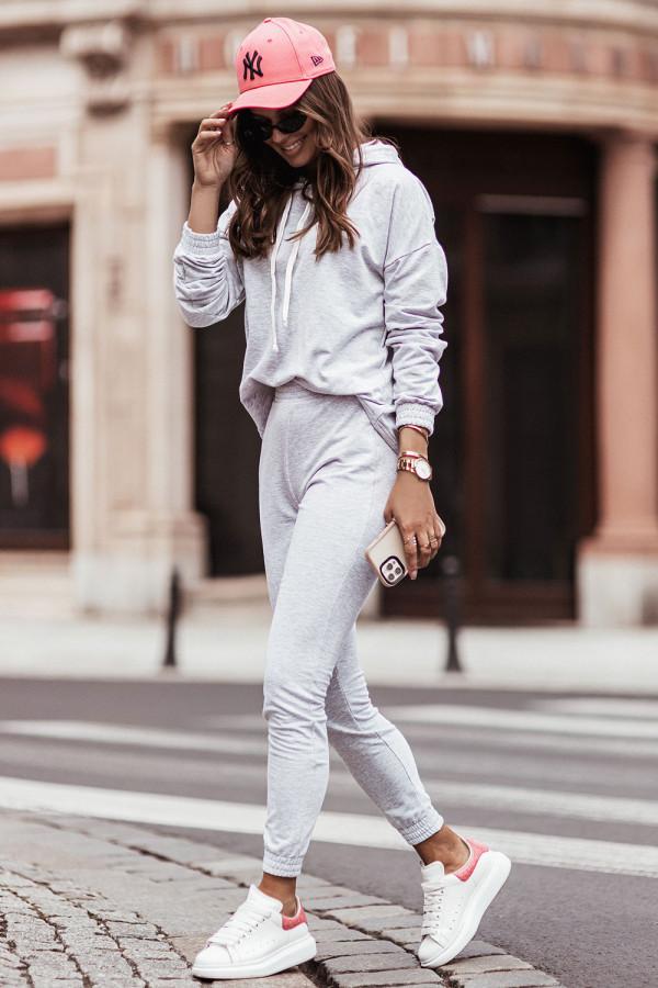 Komplet dresowy bluza z kapturem i spodnie LEXA szary