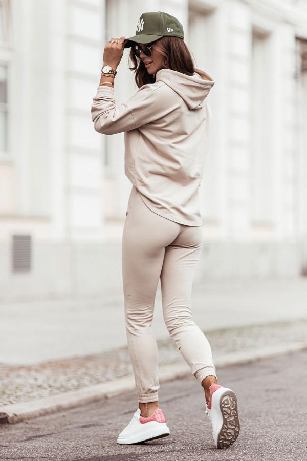 Komplet dresowy bluza z kapturem i spodnie LEXA beż
